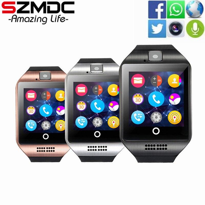 199dcc0b28c1d Bluetooth Smart Watch Q18 con cámara Facebook WhatsApp Twitter Sync SMS  smartwatch soporte SIM TF tarjeta para xiaomi ios android