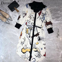 Высокое качество модная Блуза платье для дам летние платье с длинными рукавами высокое качество шелковое платье