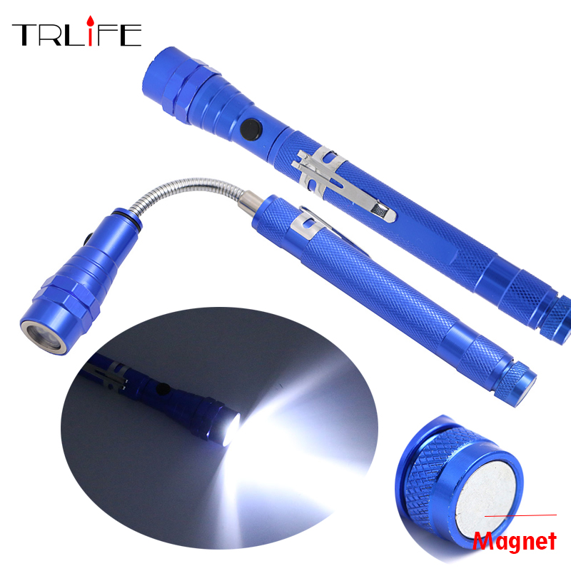 TRLIFE Multifunctional Magnetic 3*LED Flashlight Torch Magnet Telescopic Flexible Neck Pick Up Tool Powerful Flashlight Lanterna new telescopic flexible 3 led flashlight magnetic pick up tool light ga with mini zoomable flashlights