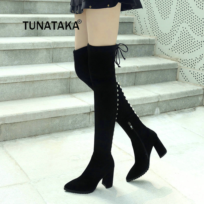 New For Womens Side Zipper Comfortable Square Heel Thigh Boots Fashion Lace Up Winter Elastic Boots Black