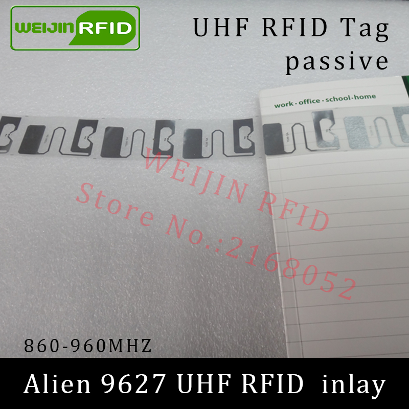 UHF RFID tag Alien 9627 dry inlay 915mhz 900mhz 868mhz 860-960MHZ Higgs3 EPC C1G2 ISO18000-6C smart card passive RFID tags label 1000pcs long range rfid plastic seal tag alien h3 used for waste bin management and gas jar management