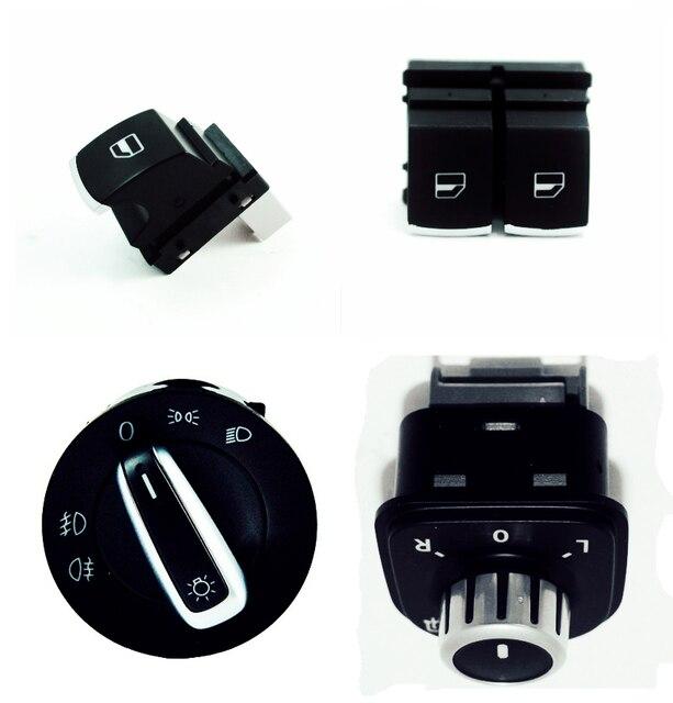 free shipping ! Chrome Headlight Mirror Window Switch Button For Volkswagen VW Passat B6 Eos Golf 5 6 R32 GTI MK5 MK6 4PCS / KIT