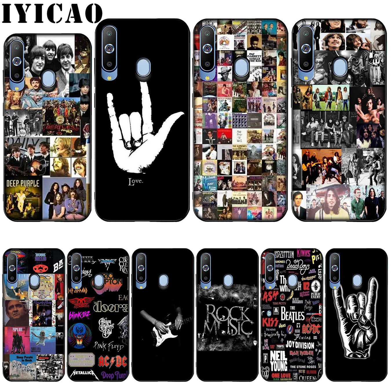 IYICAO Classic Rock And Roll Albums Collage by Silicone Soft Case for Samsung Galaxy A10 A30 A40 A50 A70 M10 M20 M30 Cover dispensador de cereal peru