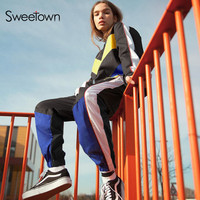 6d8f90093a Sweetown Two Piece Set Top And Pants Streetwear Tracksuit Women Bomber  Jacket And Patchwork Sweatpants 2