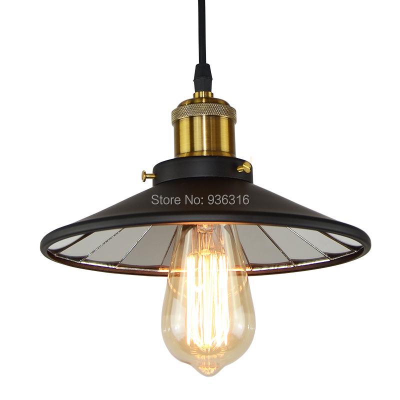 Vintage Industrial Reflective Glass Pendant Lights Loft Black Iron E27 Edison LED mirror Pendant Lamp Fixture edison inustrial loft vintage amber glass basin pendant lights lamp for cafe bar hall bedroom club dining room droplight decor
