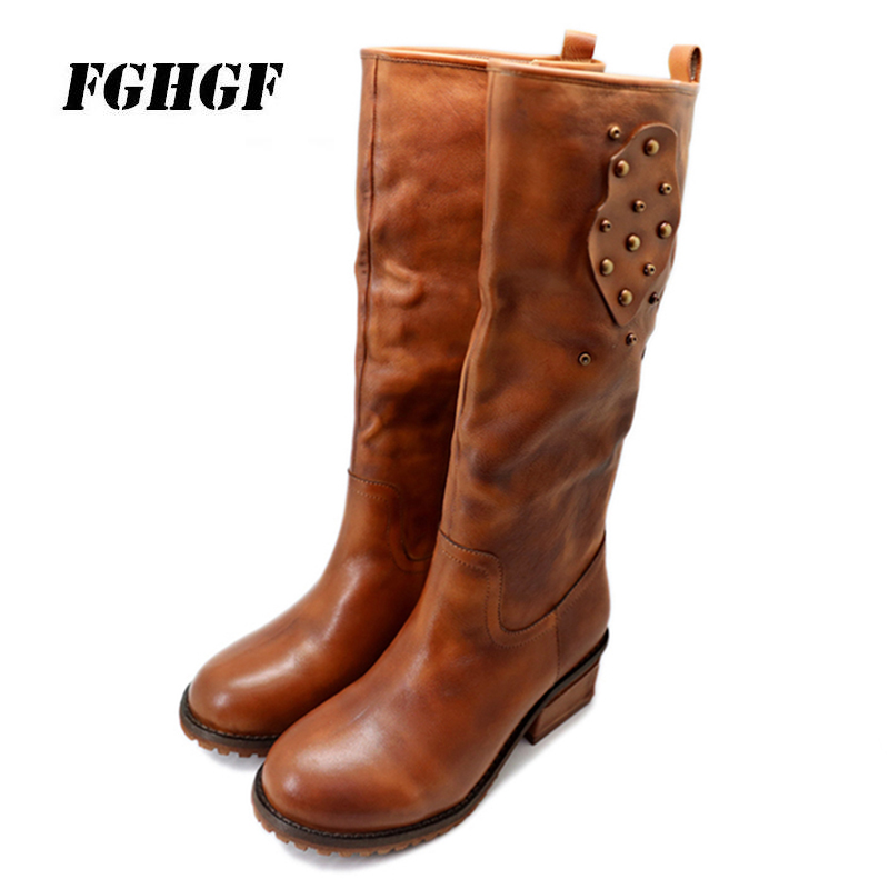 cowhide  The rivet With square with Side zipper Genuine leather High boots Female cotton 34 and 40 yards Leisure shoe
