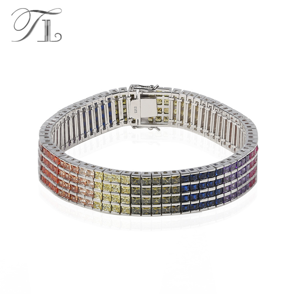 TL 925-Sterling-Silver Bangle Bracelets Four Layers Inlaid Rainbow Cubic Zircon Unique Design Bracelet For Women Silver Jewelry free shipping 10pcs rt9183 rt9183 12