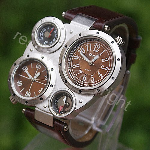 Mens Military Army Sports Quartz Wrist Watch Brown Dial Faux Leather Band New A268