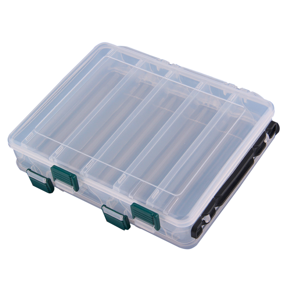 10 Compartment Fishing Tackle Box Waterproof Double Sided Lure Baits Case Storage Box Fishing Gear 19.5*16.5*4.5cm drop shipping