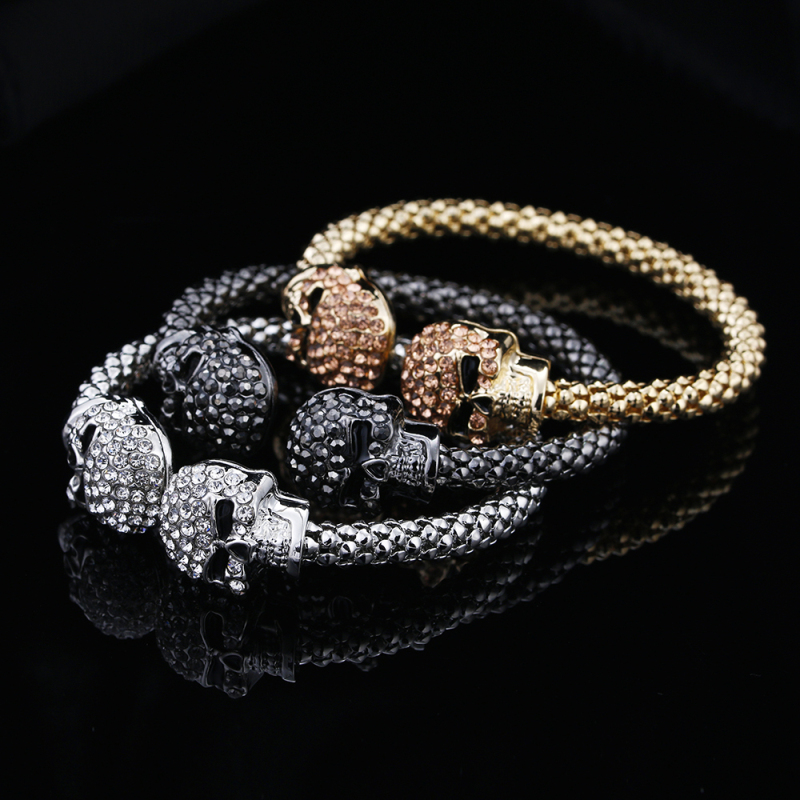 Punk Skull Crystal Open Bangle For Men 3 Color Gothic Skeleton Double Skull Heads Cuff Bracelets & Bangles Men's Jewelry 1