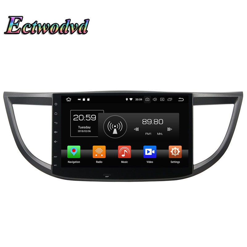 Ectwodvd Octa Core 4G Android 8.0Quad Core Android 8.1 Car Multimedia DVD Player For Honda CRV 2012 Radio GPS Navigation