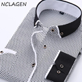 NCLAGEN Autumn Fashion Brand Men Slim Fit Long Sleeve Dress Shirt Plaid Polka Dot Casual Chemise Homme Male Clothing Size S-4XL