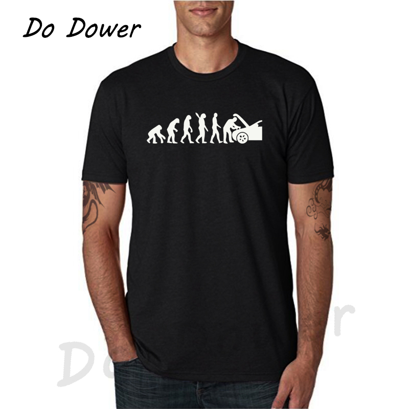 Men's T-Shirt Evolution Auto Mechaniker Mechanic Car Free Shipping Autumn Fashion Funny T Shirts White And Black