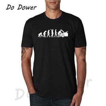 Men's T-Shirt Evolution Auto Mechaniker Mechanic Car Free Shipping Autumn Fashion Funny T Shirts White and Black
