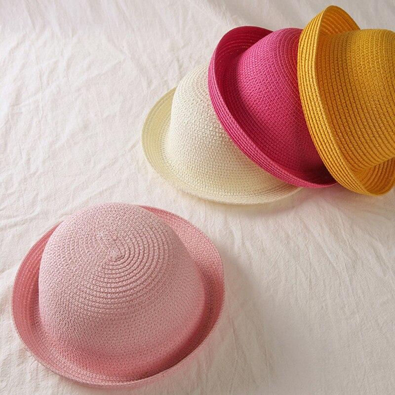Straw Hats Kids Summer Ear Decoration Cat Beach Cap Girls Sun Visor Hat Boys Sun Hat Solid Children Floppy Cap