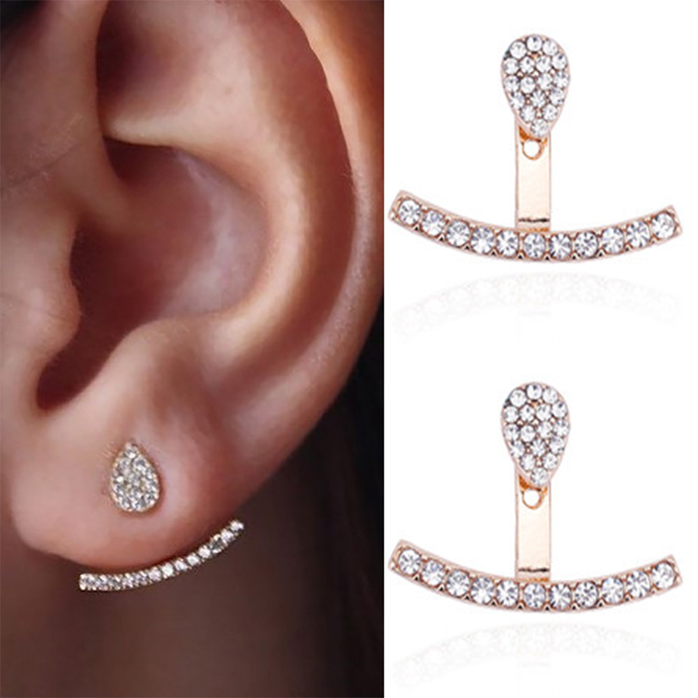 IPARAM Fashion Simple One Type Of Earrings Full Crystal Before And After The Water Drops Crystal Personality Earrings