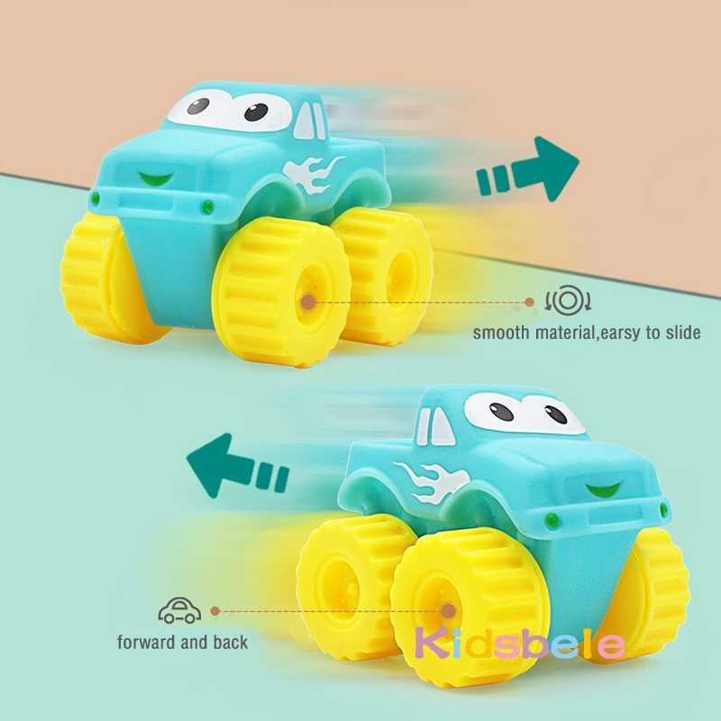 5 Pcs Lembut Karet Mobil Mainan Anak Laki-laki Gadis Hewan Kendaraan Mendorong dan Roda Belakang Mobil Air Mandi Mainan untuk Anak-anak anak Balita Merangkak Mainan