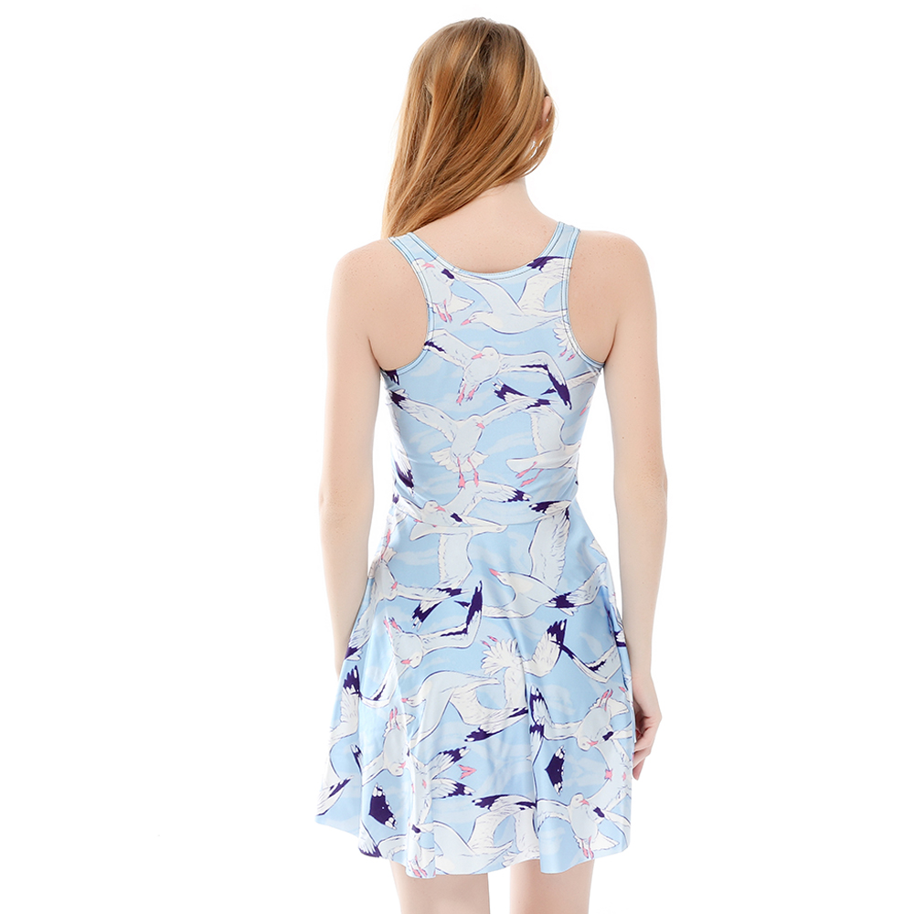 776a8cb187 3 Patterns Cute Cat Print Women White Summer Skater Dress Swan Rabbit Print  Blue Pleated Dresses Above Knee S To 4xL-in Dresses from Women s Clothing  on ...