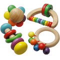 candice guo! new arrival infant baby wooden toy rainbow geometric rattles handle bell combination 4pcs a set