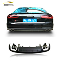 A6 styling PP+Stainless steel rear bumper diffuser with exhauat tip fit for Audi standard A6 2013-2016