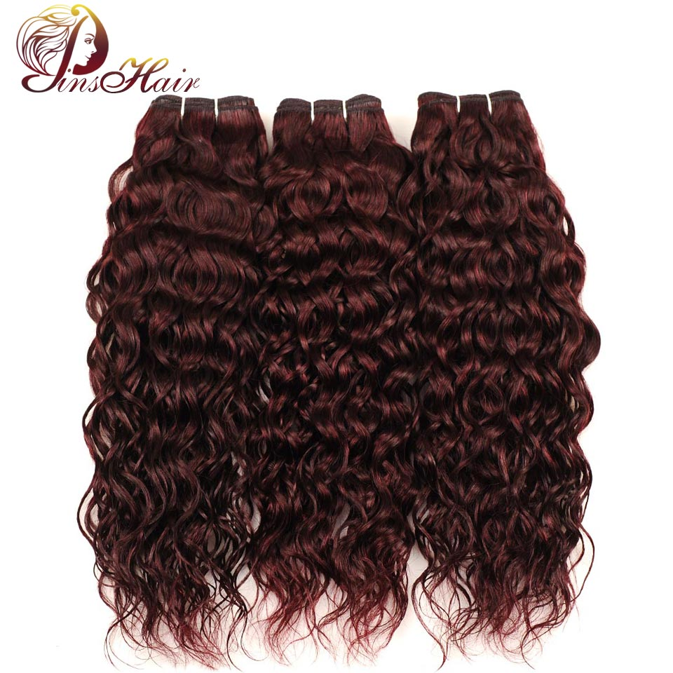 Pinshair 99J Red Bundles Peruvian Water Wave 3 Bundles Burgundy Hair 100% Human Hair Weave Extensions Non Remy Hair Thick Weft