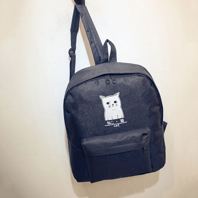 Cute Cat Casual Travel Bag Cartoon School Students Backpack Middle Finger  Backpack Women Canvas Backpack 5230a0ad07e1b
