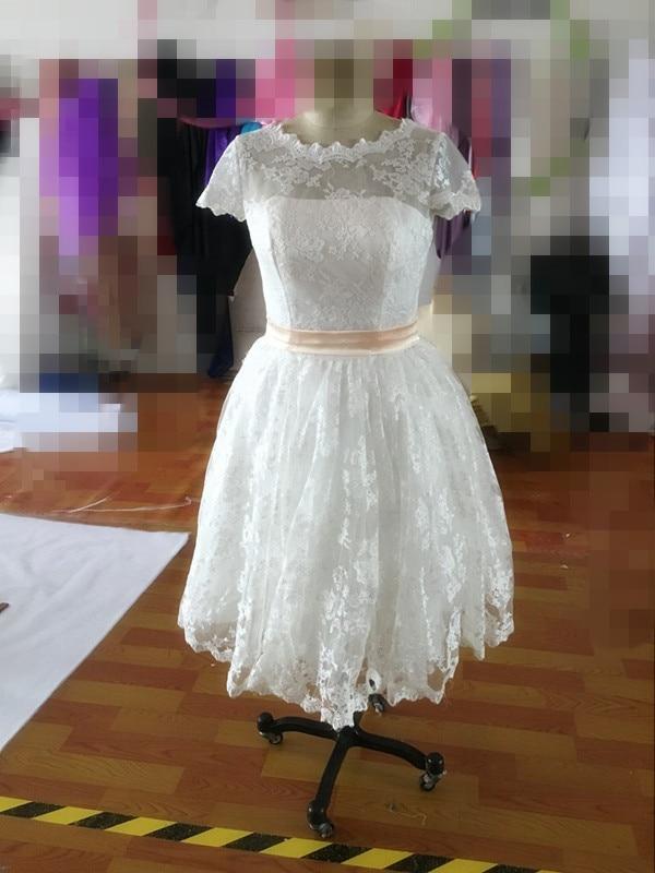 Hot selling 2015 short sleeve tea length vintage lace for Sell vintage wedding dress