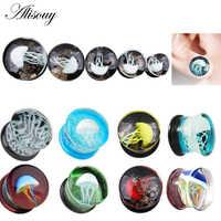 Alisouy 1Pc Jellyfish Sea Animal HQ Glass Ear Plug Gauges Earring ear Expander Flesh Tunnel Stretcher Body Piercing Jewelry