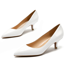 hot deal buy high quality genuine leather pumps slip on shoes european style med heels shallow pumps elegant lady white wedding pumps e0006