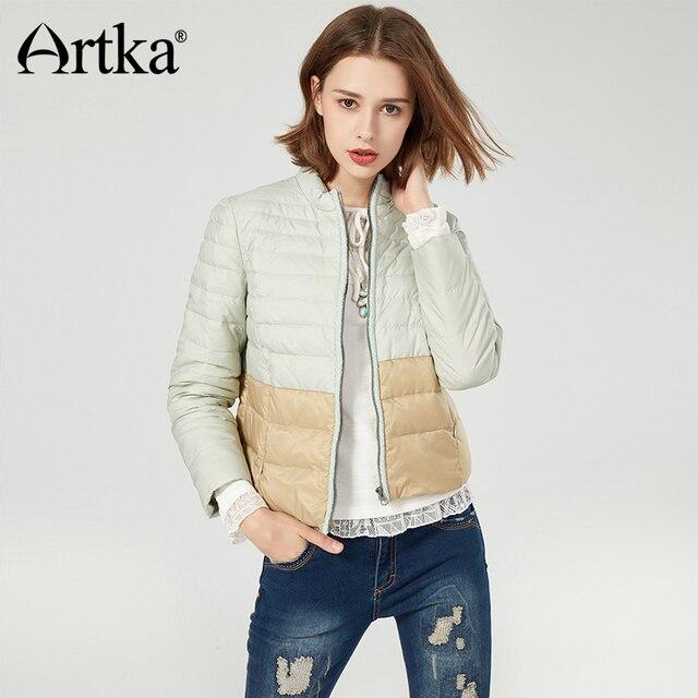 c89598709 US $75.72 48% OFF|ARTKA Puffer Jacket Women Quilted Coat Winter 90% Duck  Down Parka Female Ultra Light Jacket Coat 2018 Women Raincoat D910051D -in  ...