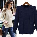 heat! Spring Fashion Women Slim long-sleeved sweater coat female models hedging round neck sweater free shipping
