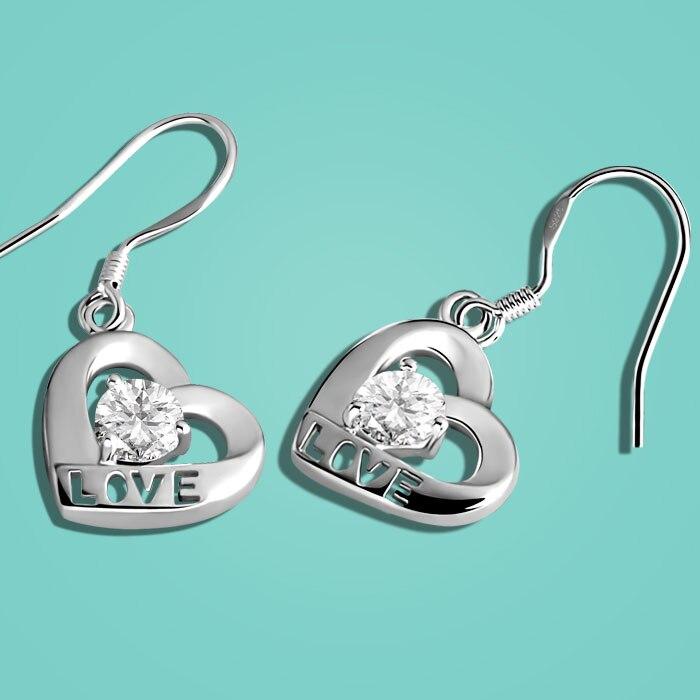 925 Sterling Silver Earrings Womens Sweet Heart Pendant Design Solid Silver Earrings Lady Fashion Jewelery Valentines Day