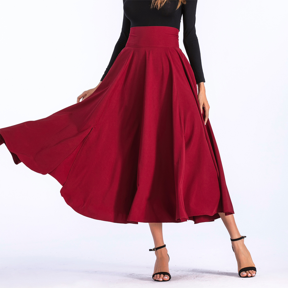 c12788ffb3 Womens fashion casual elegant swing skirts wide waistband high waist double  pocket Lace-Up A