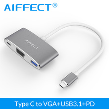 AIFFECT Type C to VGA Adapter Hub With DP Port Aluminum USB3.1 3 in 1 Hub USB-C for Macbook Chromebook Pixel Type C Adapter