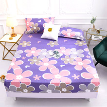 1pcs 100% polyester printing bed mattress set with four corners and elastic band sheets hot sale(China)