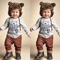Retail 2016 autumn baby boy clothes gray Little bear cartoon Long sleeve Top + pants 2pcs baby clothing set newborn clothing
