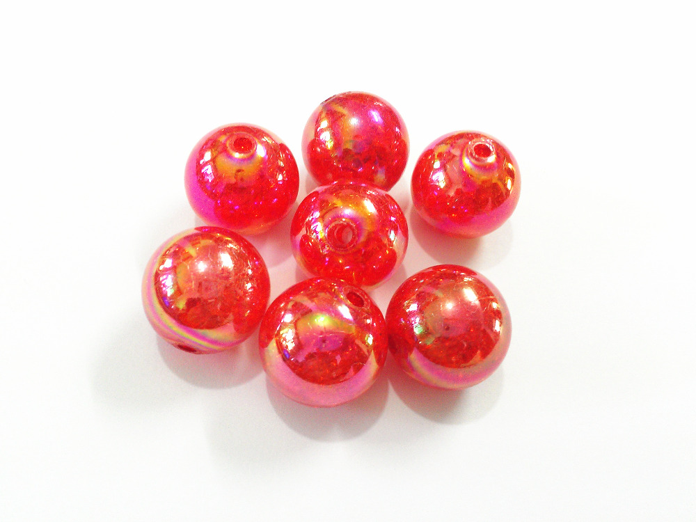 (Choose Size First) 12mm/16mm/20mm Red Crack Beads With AB Effect For Chunky Jewelry Making