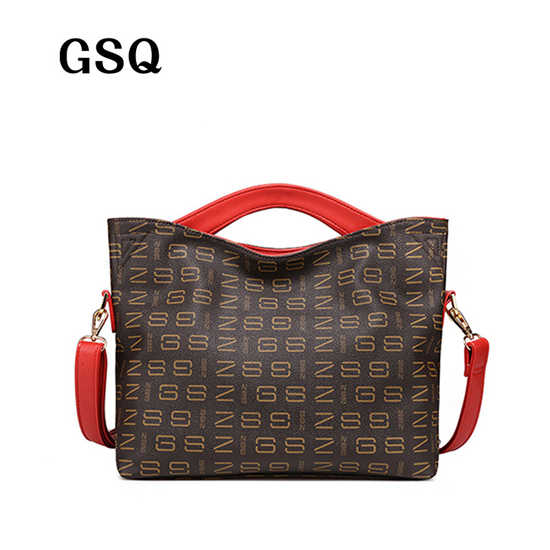GSQ High Quality Leather Women Handbag Bag Famous Brand Luxury Leather Bags Women Bag Women genuine leather Printed Tote N1337 high quality authentic famous polo golf double clothing bag men travel golf shoes bag custom handbag large capacity45 26 34 cm