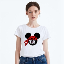 Printing Summer Cool Lovely Cartoon Mickey Number Modal Womens O-neck Short Sleeve Leisure fashion Cotton White T-Shirt