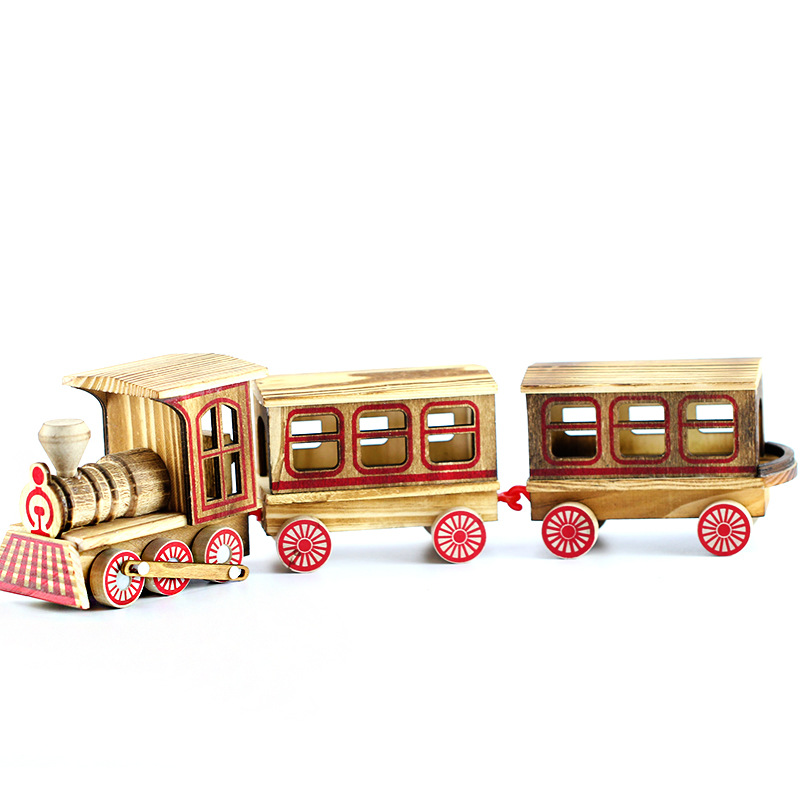 Vintage Wood Train Ornaments Home Bar Cafe Shop Display Decoration Classic Train Props Wooden Train Figurine Decor Car Toy Gifts