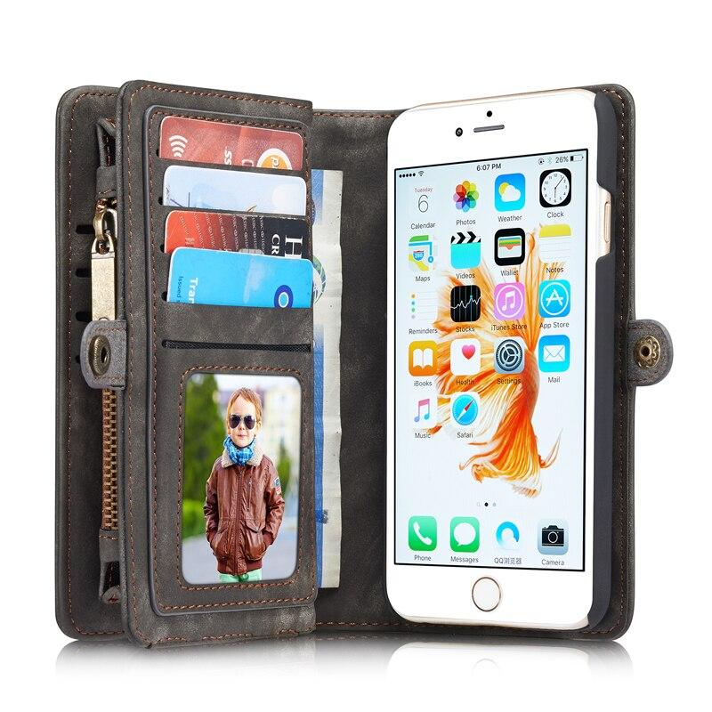 bilder für Marke reißverschluss geldbörse fall Für iPhone 6 Plus 6 s plus Leder telefon Coque für iPhone 6 6 s Fundas Bags premium folio abdeckung fall