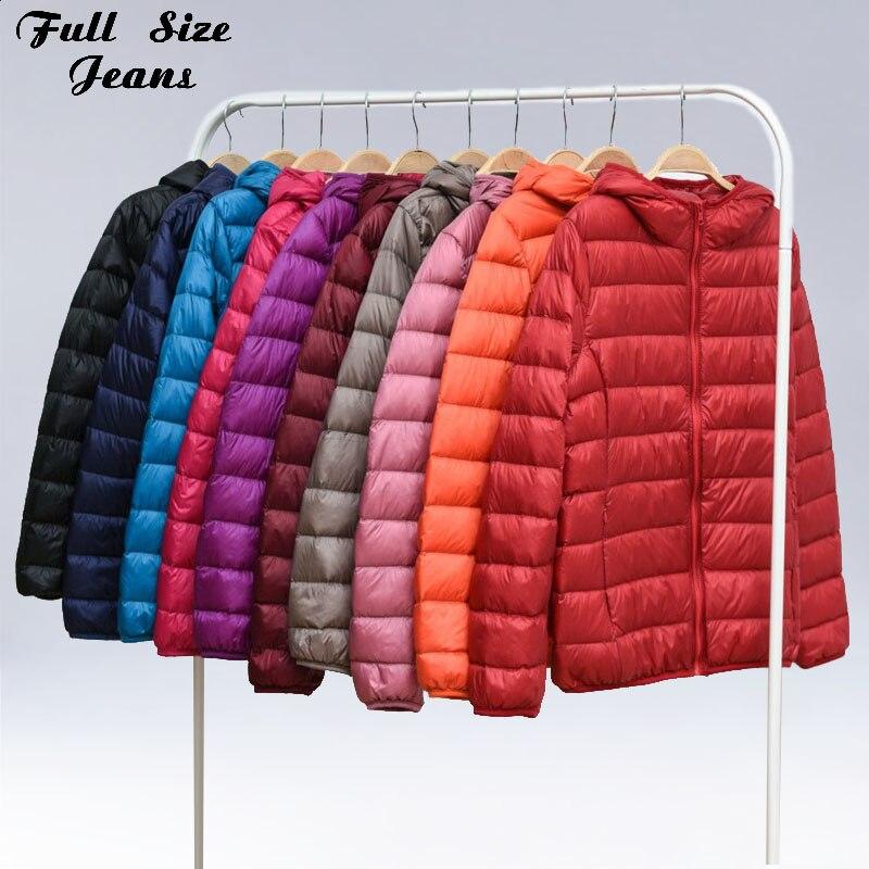 Winter Plus Size 5XL 6XL 4XL 7XL Womens Hoody Duck   Down   Jackets Short Ultra Light   Down     Coat   Hooded Puffer Jacket Autumn Parkas