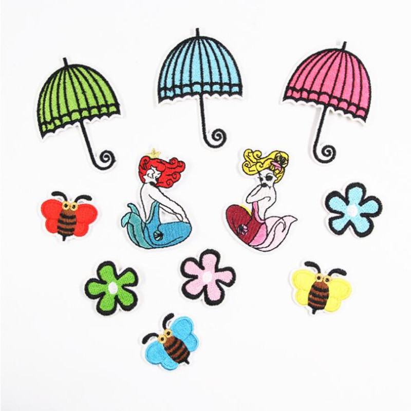 Cartoon Umbrella Flower Bee Patch Embroidered Iron On Patches For Clothing Embroidery Design For diy Phone Bag Accessories in Patches from Home Garden