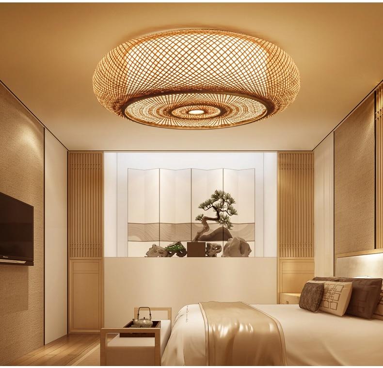 Mão-tecido De Bambu Vime Rattan Rodada Lanterna Shade Luz de Teto Luminária Rústico Asiática Japonesa Plafon Quarto Lâmpada Sala de estar