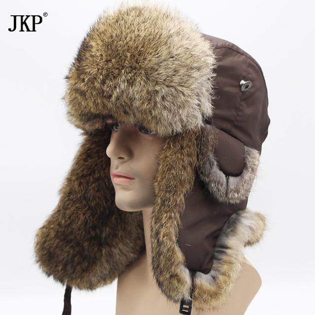 Bomber Trapper Hats Thick Winter Warm Rabbit Fur Hat Rex Snow Caps Ear Flap Caps ushanka Russian  For Men