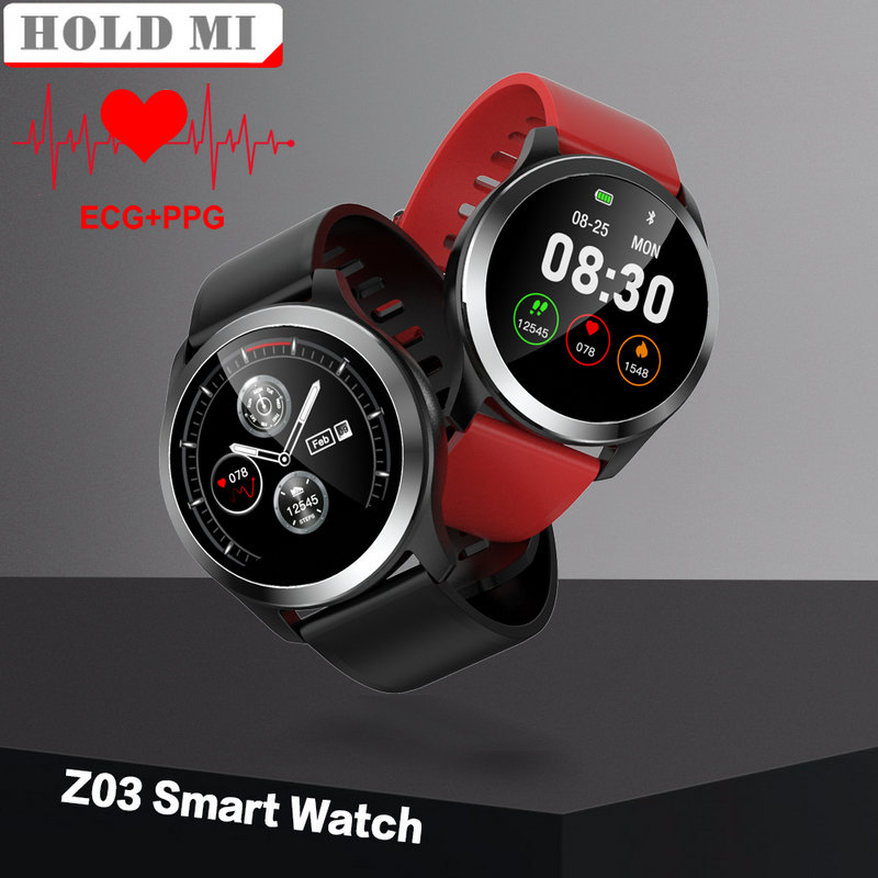 Original Z03 Smart Watch ECG PPG Blood Pressure Heart Rate Monitor Adjustable Brightness Smartwatch for Android