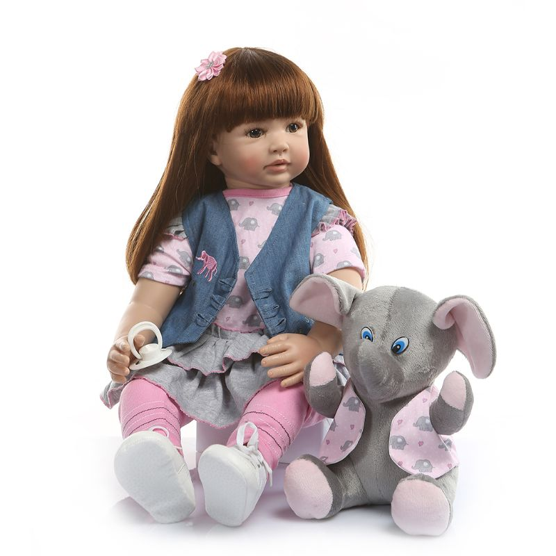 60cm Reborn Doll Realistic Silicone Vinyl Newborn Babies Toy Girl Princess Clothes Elephant Pacifier Lifelike Handmade Gifts60cm Reborn Doll Realistic Silicone Vinyl Newborn Babies Toy Girl Princess Clothes Elephant Pacifier Lifelike Handmade Gifts
