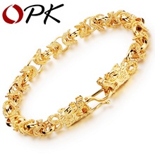 Opk pulseras del estilo punky de color de oro de lujo mans cabezas de dragón mens joyería de cadena enlace amistad wristband ks445