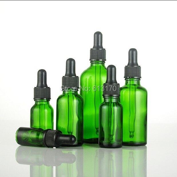 Nuovo arrivo 5 ml, 10 ml, 15 ml, 20 ml, 30 ml, 50 ml, 100 ml bottiglie di Vetro Verde Con Contagocce, Vuota di Olio Essenziale Fiale di Vetro di gomma Nera