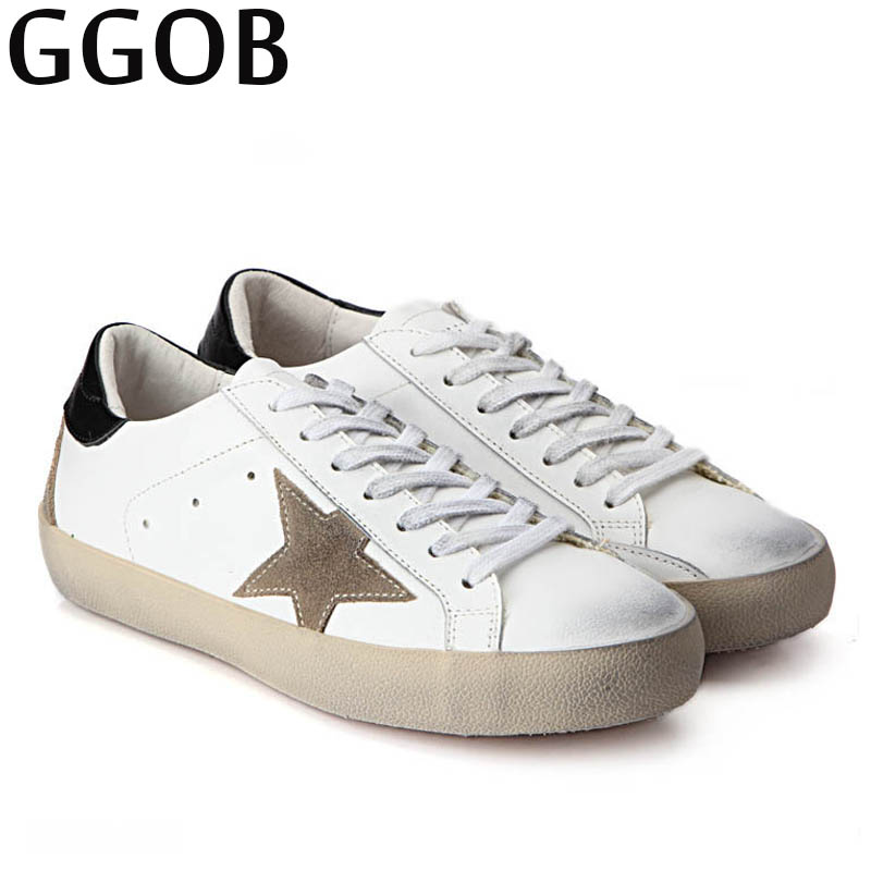 GGOB Womens Flats Girl Casual Shoes Classics Woman Brand Plus Size Genuine Leather Outdoor Walking Flat With Cow Leather Do old ggob womens sandals platform casual shoes outdoor walking classics fashion element hairy slippers flat sandals ladies white